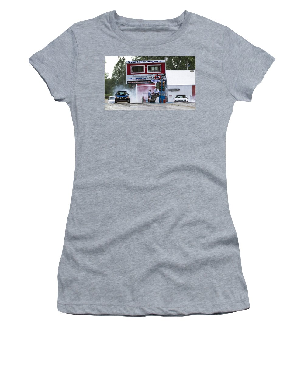 Dodge Women's T-Shirt (Athletic Fit) featuring the photograph Dodge Omni Glh Vs Rwd Dodge Shadow - 04 by Josh Bryant