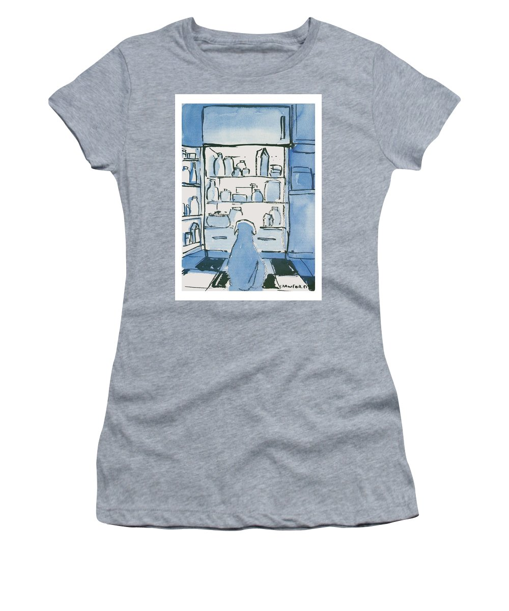 Dog In Front Of An Open Refrigerator Women's T-Shirt featuring the drawing Dog In Front Of An Open Refrigerator by Michael Crawford