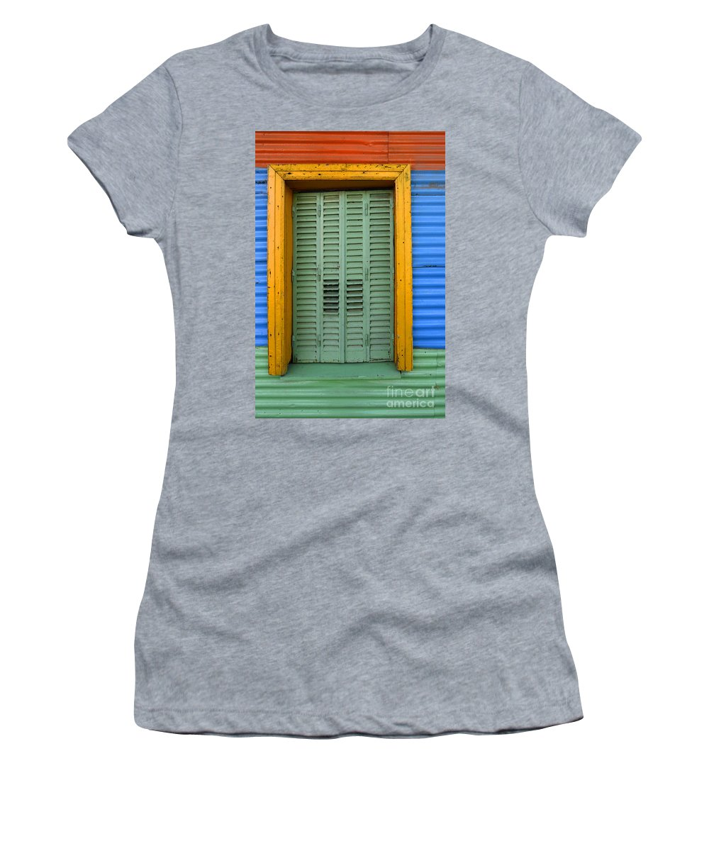 Door Women's T-Shirt featuring the photograph Doors And Windows Buenos Aires 14 by Bob Christopher