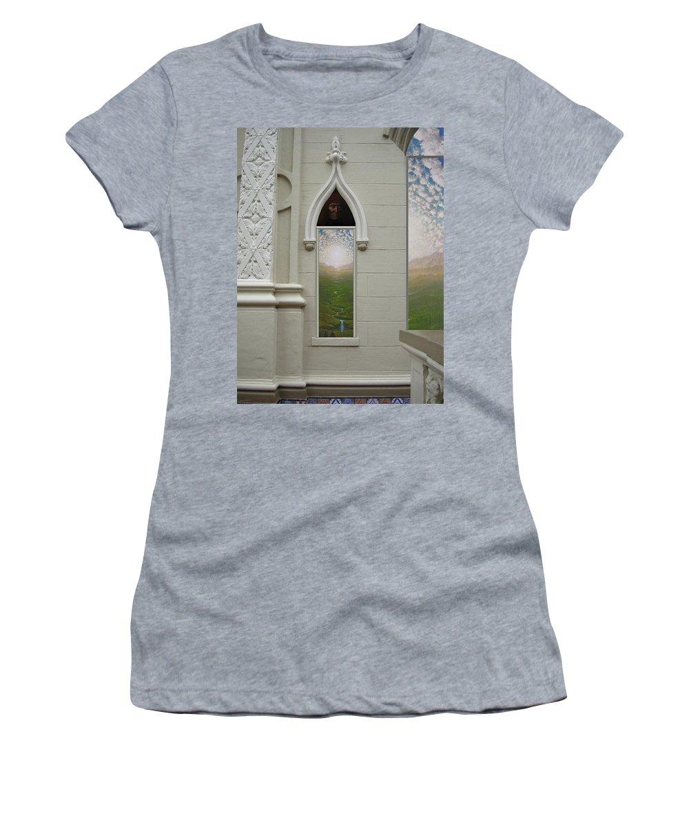 Mandala Sun Women's T-Shirt featuring the mixed media Doorway 15 by Karma Moffett