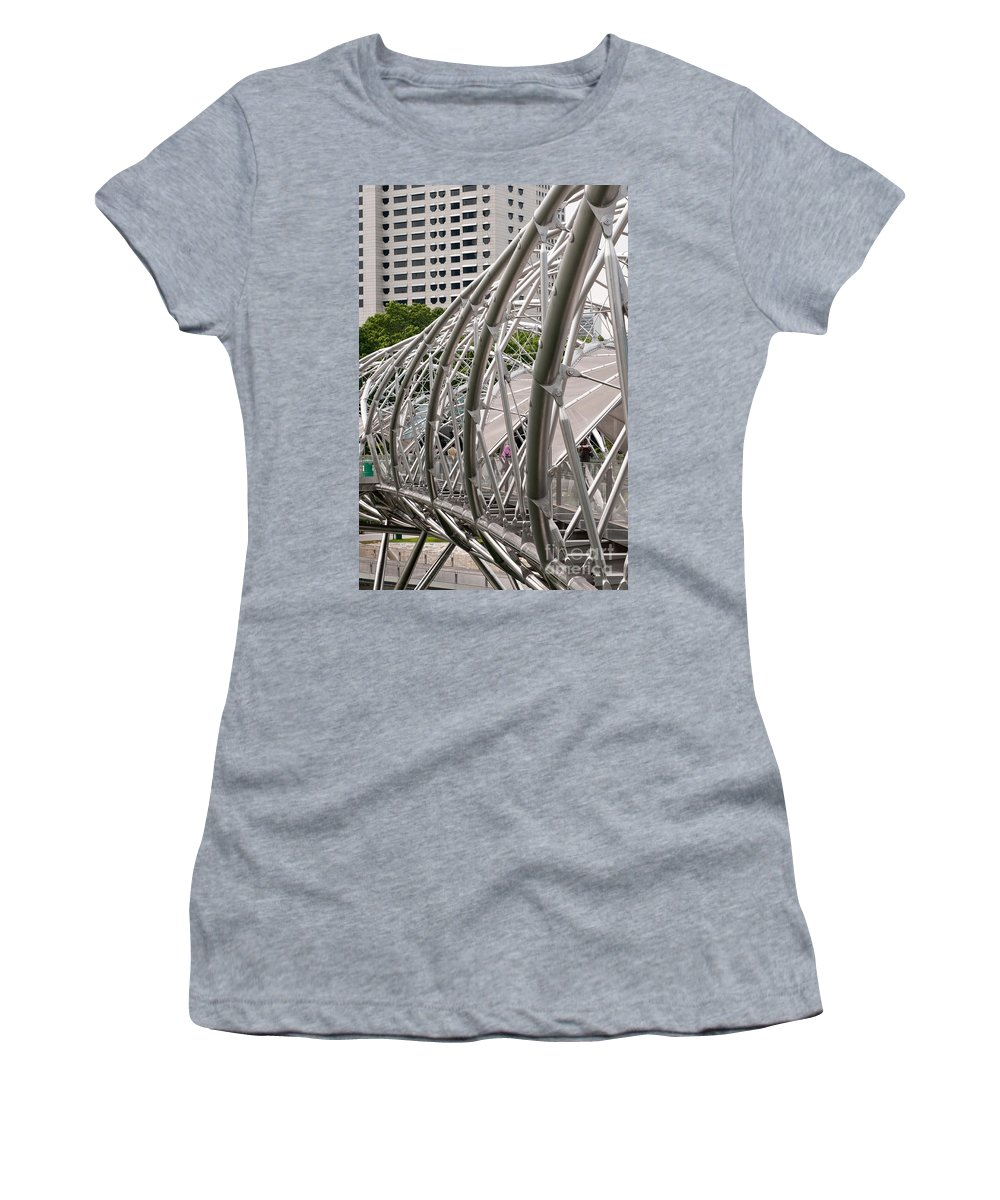 Singapore Women's T-Shirt featuring the photograph Double Helix Bridge 01 by Rick Piper Photography