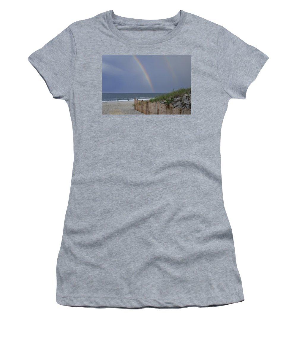 Double Rainbow Beach Seaside Park Nj Women's T-Shirt featuring the photograph Double Rainbow Beach Seaside Park Nj by Terry DeLuco