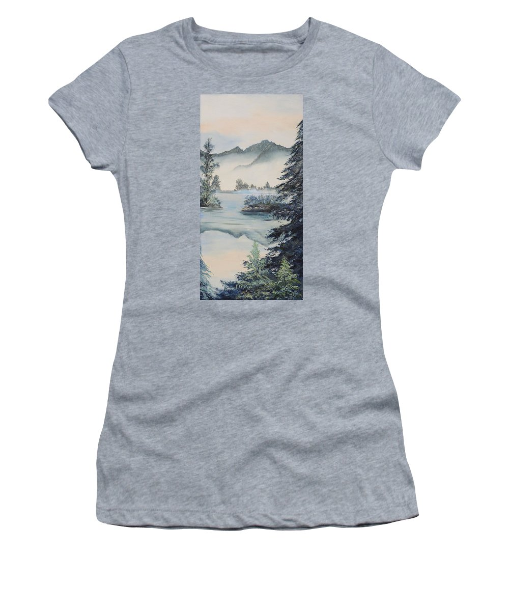 Mountains Women's T-Shirt featuring the painting Double The View by Gladys Berchtold