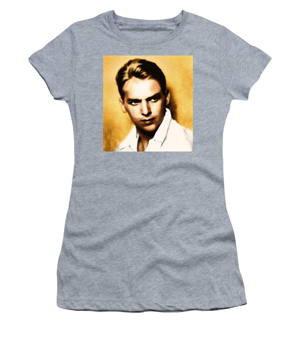 Mixed Media Women's T-Shirt featuring the mixed media Douglas Fairbanks Jr by Georgiana Romanovna