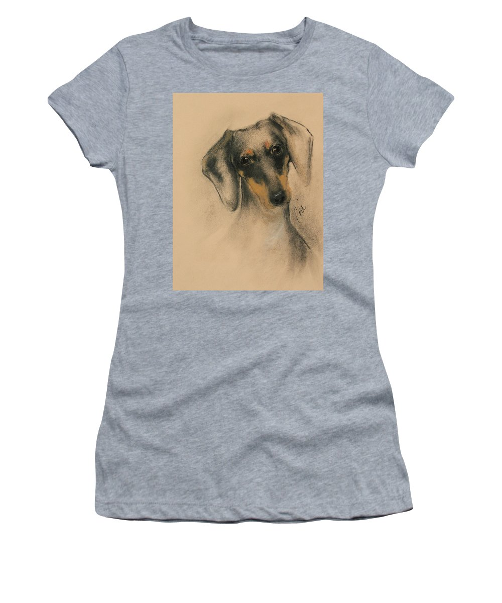 Dachshund Women's T-Shirt (Athletic Fit) featuring the drawing Doxie by Cori Solomon