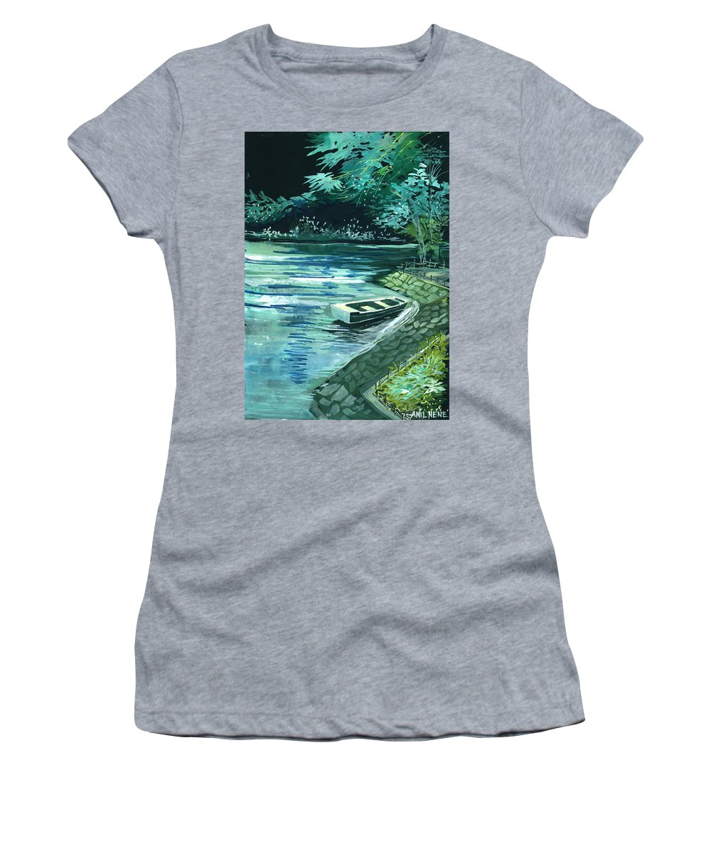 Lake Women's T-Shirt featuring the painting Dream Lake by Anil Nene