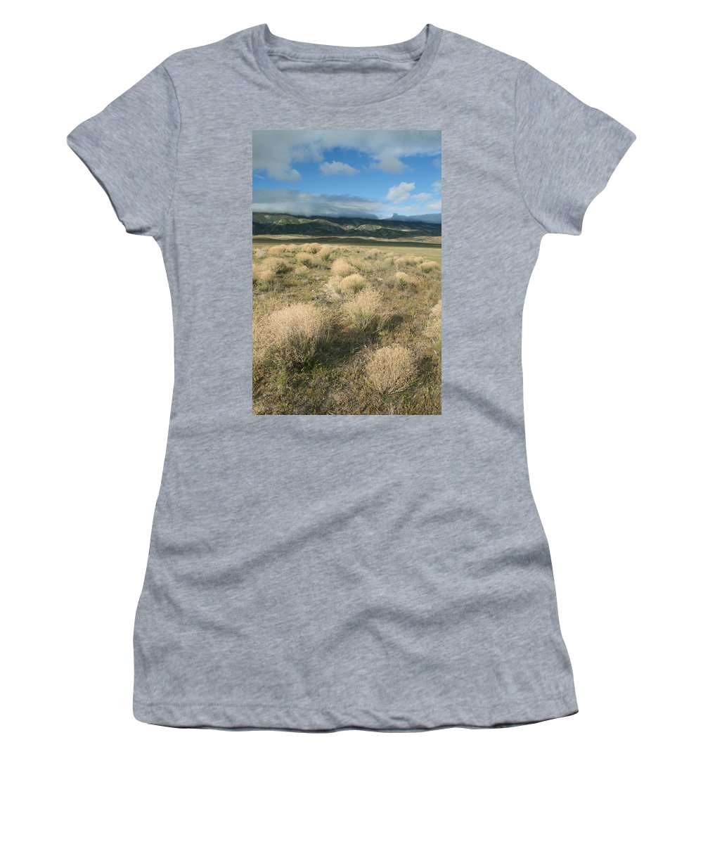 Feb0514 Women's T-Shirt (Athletic Fit) featuring the photograph Dried Shrubs In Late Winter Carrizo by Kevin Schafer