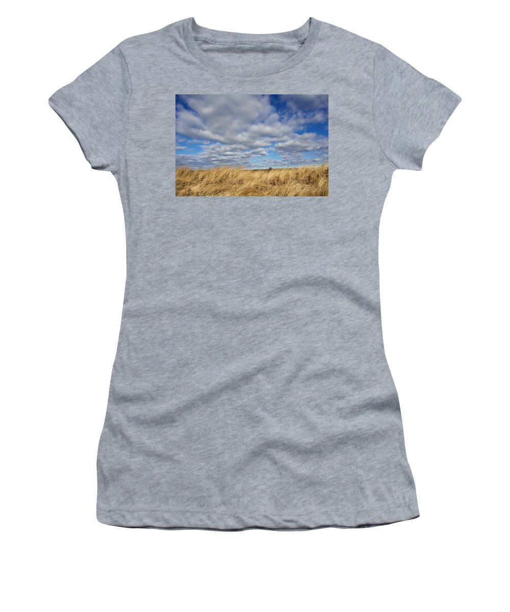 Clouds Women's T-Shirt (Athletic Fit) featuring the photograph Dune Grass And Sky by Allan Morrison