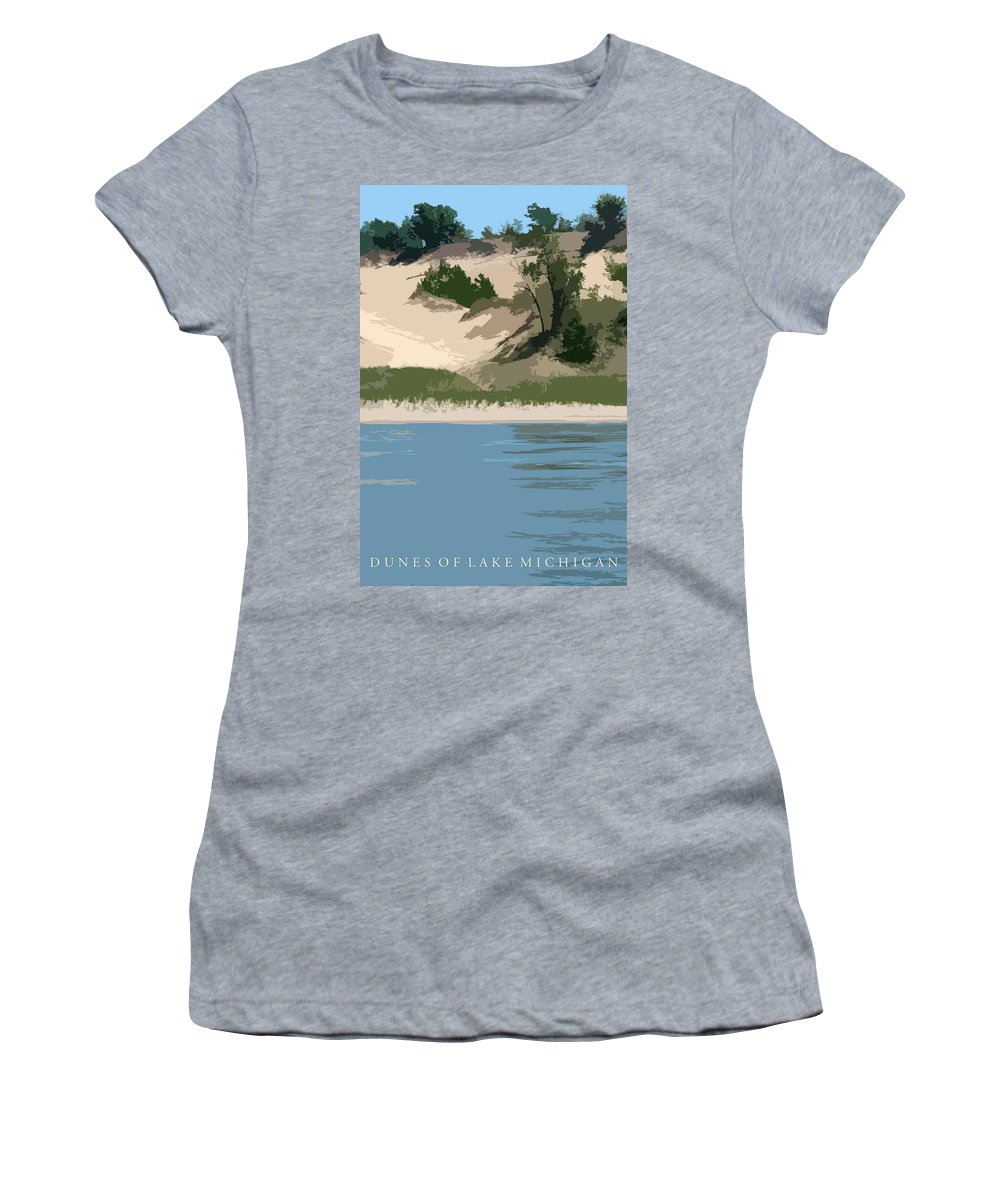 Dunes Women's T-Shirt featuring the photograph Dunes Of Lake Michigan by Michelle Calkins