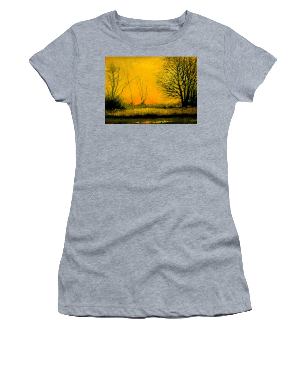 Landscape Women's T-Shirt (Athletic Fit) featuring the painting Dusk At The Refuge by Jim Gola