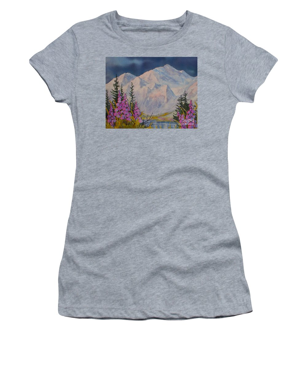 Eagle Peak Women's T-Shirt (Athletic Fit) featuring the painting Eagle Peak II by Teresa Ascone