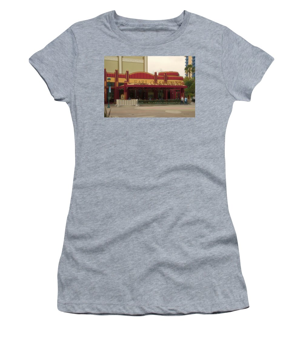 Disney Women's T-Shirt featuring the photograph Earl Of Sandwich Downtown Disneyland by Thomas Woolworth