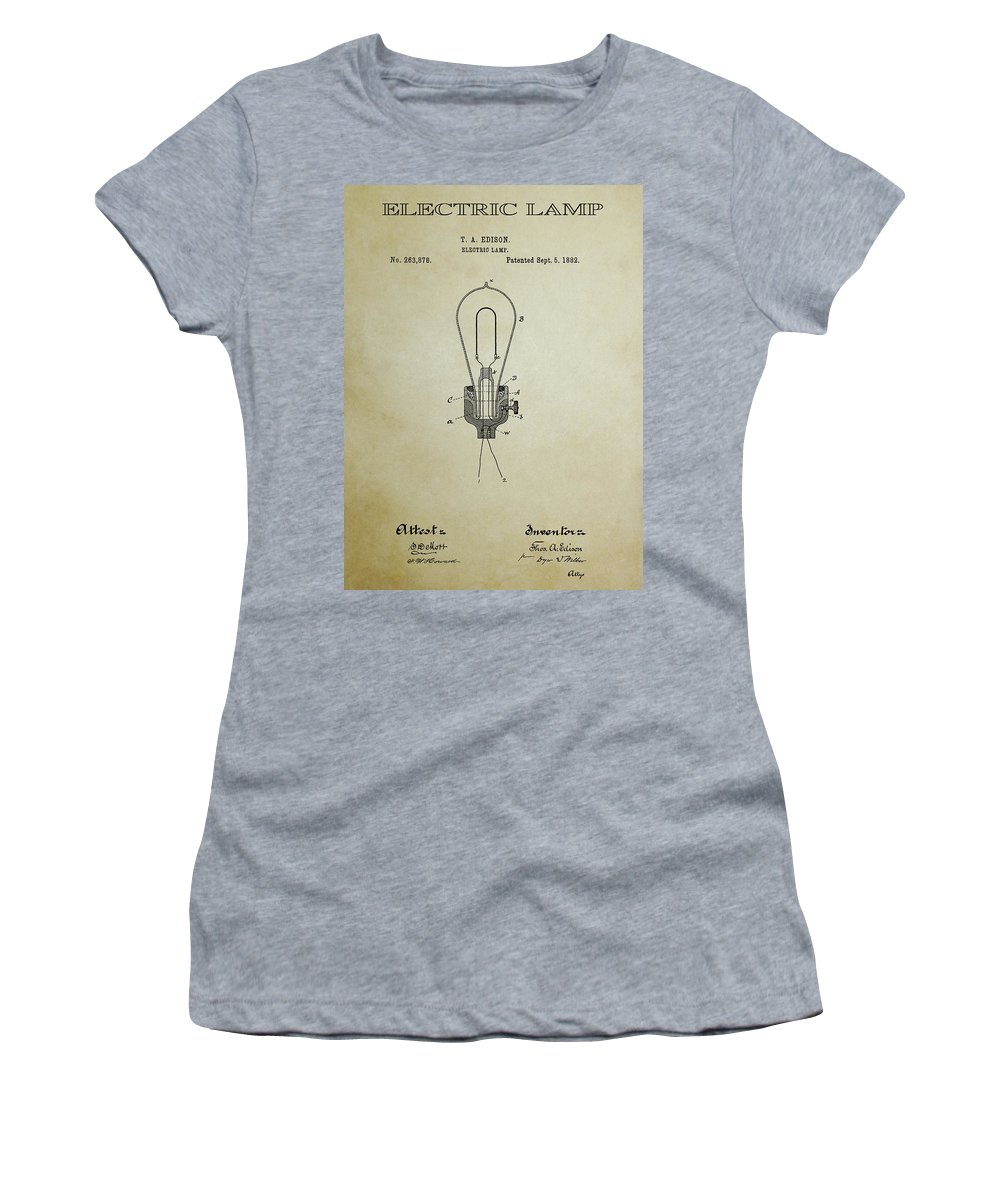 �light Bulbs� Women's T-Shirt featuring the digital art Edison Electric Lamp Patent 3 - 1882 by Daniel Hagerman