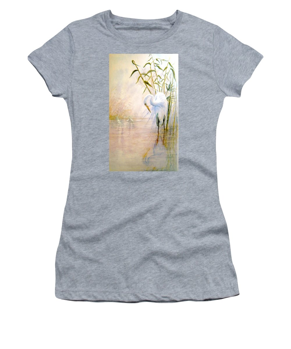 Eret; Bird; Low Country Women's T-Shirt (Athletic Fit) featuring the painting Egret by Ben Kiger