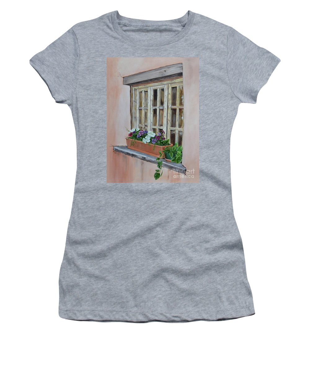 Adobe Women's T-Shirt (Athletic Fit) featuring the painting Elayne Look Through The Window by Mary Rogers