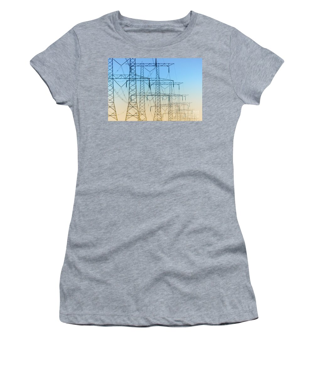 Electricity Women's T-Shirt featuring the photograph Electricity Pylons Standing In A Row by Nick Biemans