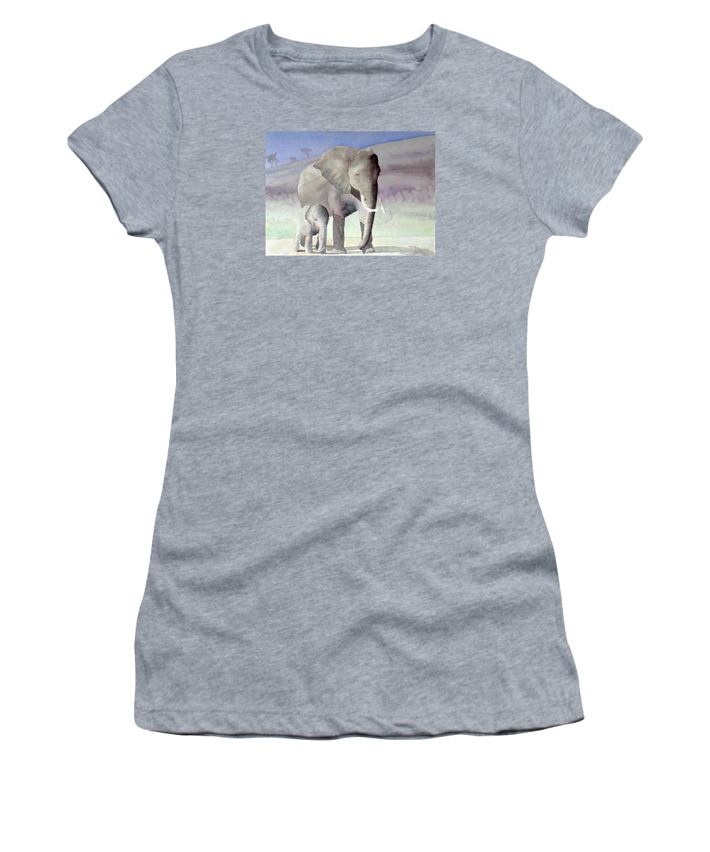 Landscape Women's T-Shirt featuring the painting Elephant Family by Laurel Best