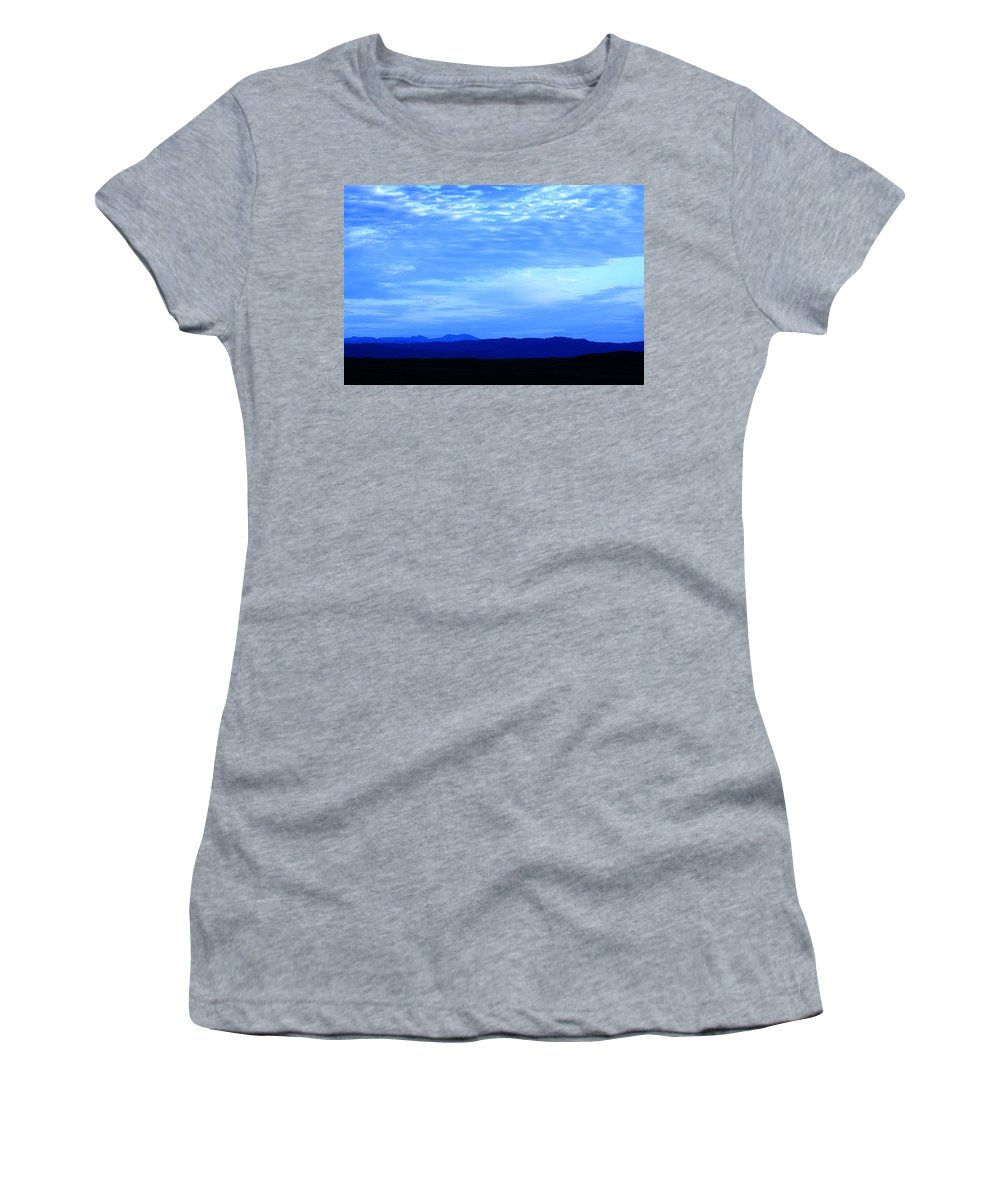 Blue Sky Women's T-Shirt (Athletic Fit) featuring the photograph Elgol Sky by Jacqueline Moore