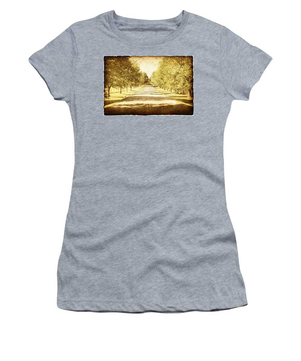 Approaching Women's T-Shirt featuring the photograph Empty Road by Skip Nall