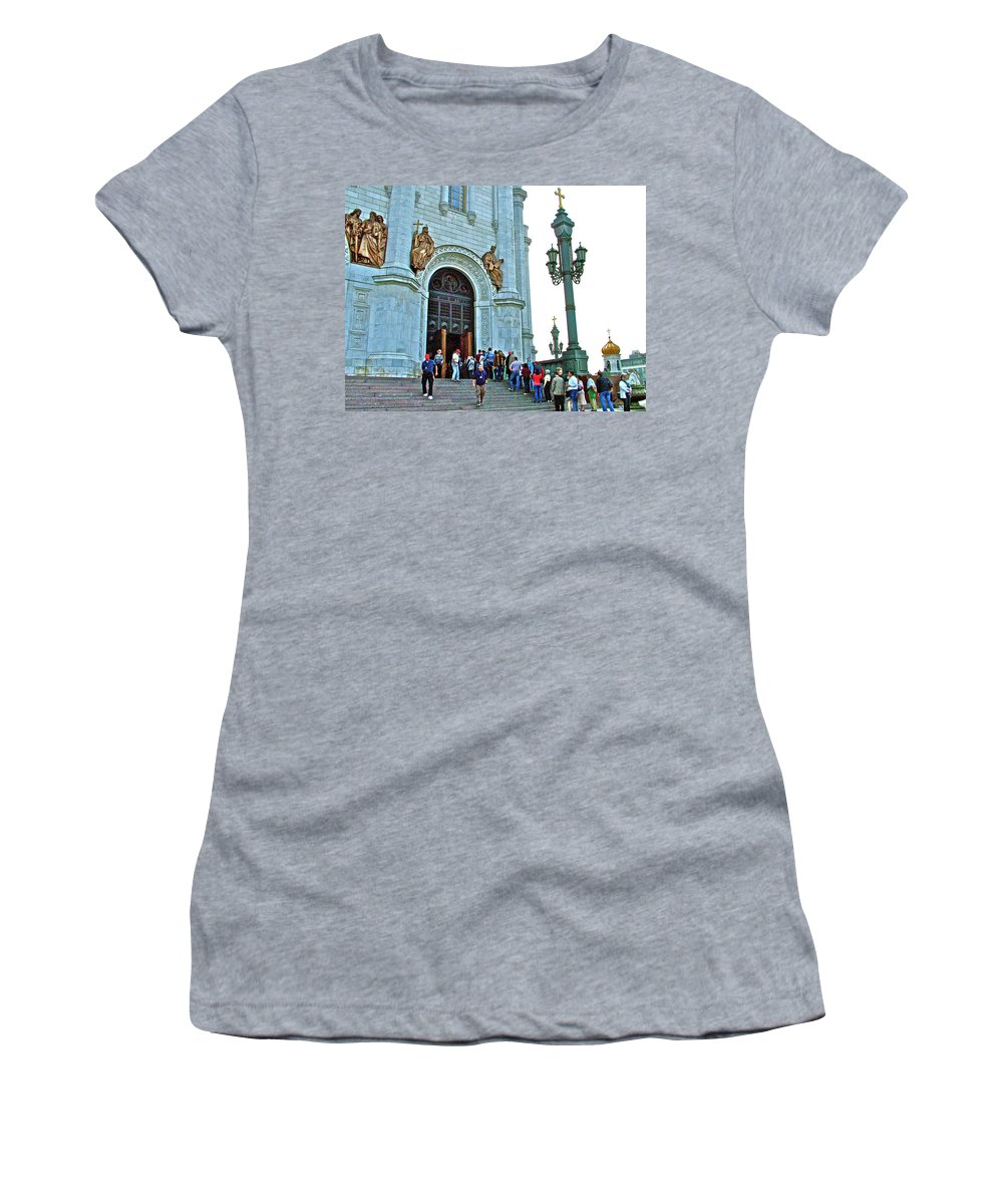 Entrance To Christ The Savior Cathedral In Moscow Women's T-Shirt (Athletic Fit) featuring the photograph Entrance To Christ The Savior Cathedral In Moscow-russia by Ruth Hager