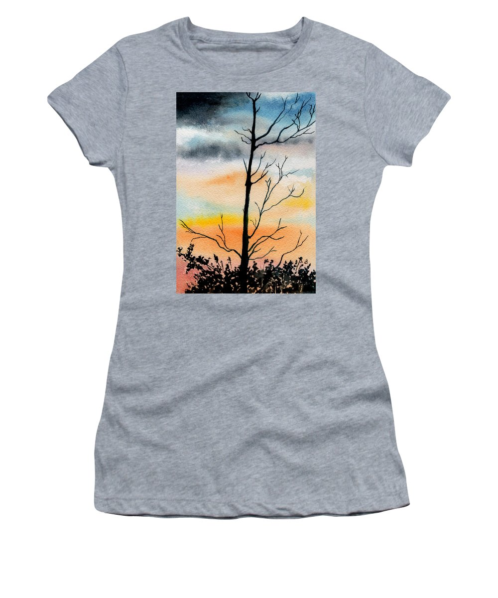Watercolor Women's T-Shirt (Athletic Fit) featuring the painting Evening Comes by Brenda Owen