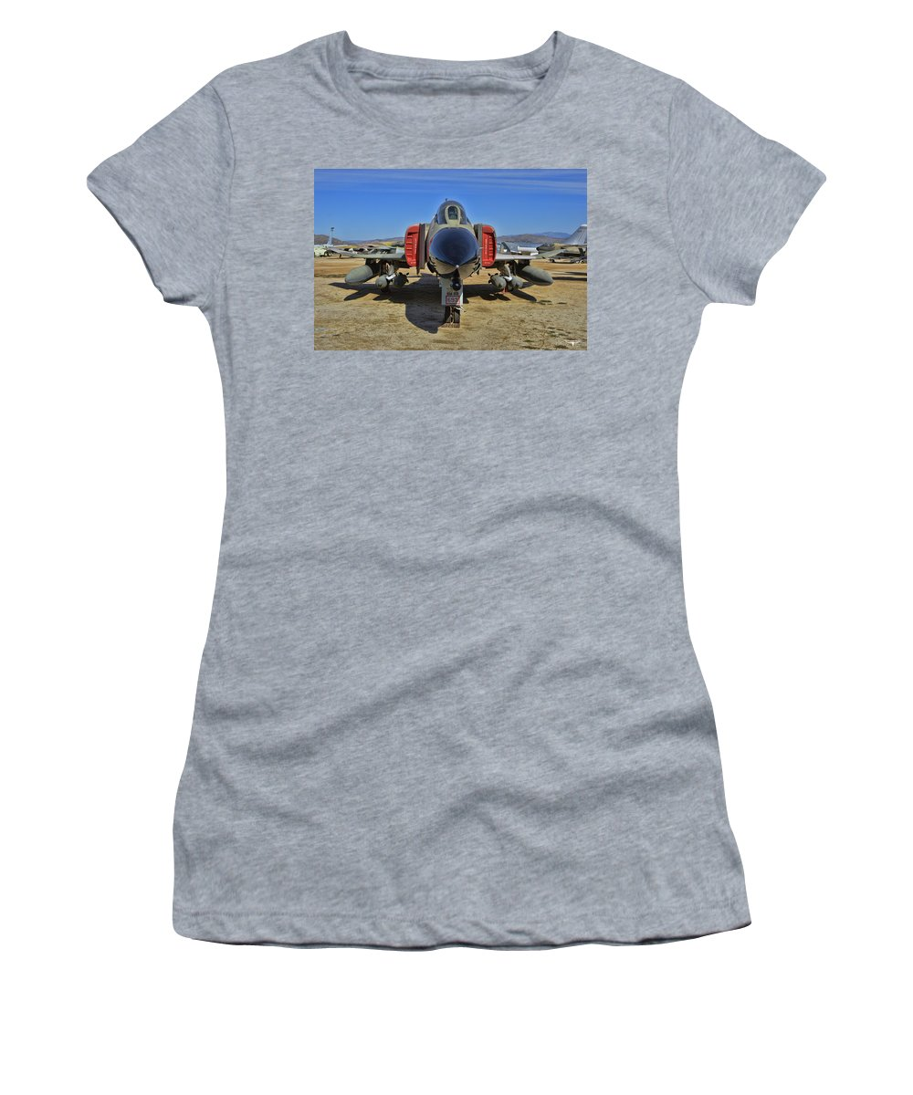 Mcdonnell Douglas F-4c Phantom Ii Women's T-Shirt (Athletic Fit) featuring the photograph F-4c Phantom II by Tommy Anderson