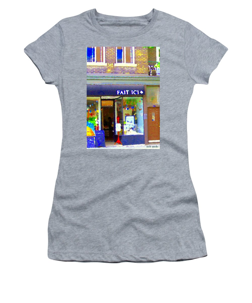St.henri Women's T-Shirt (Athletic Fit) featuring the painting Fait Ici Organic General Store Notre Dame Corner Charlevoix St Henri Shops City Scene Carole Spandau by Carole Spandau