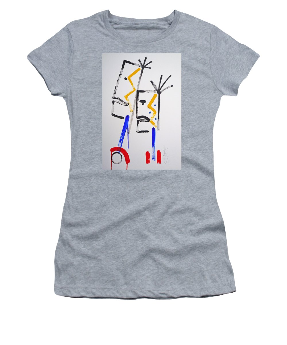 Native American Women's T-Shirt (Athletic Fit) featuring the painting Familiar Pattern by Charles Stuart