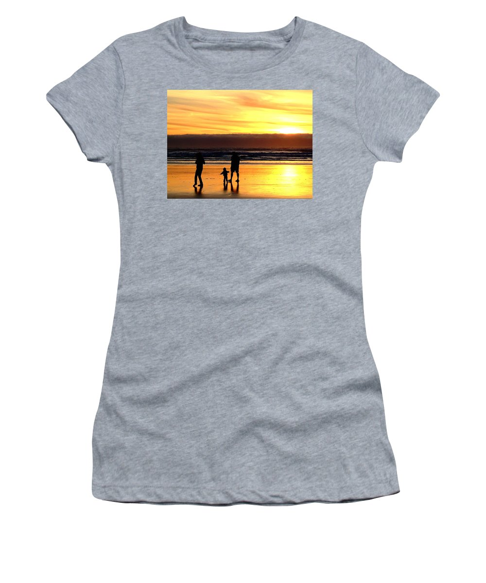 Family Women's T-Shirt (Athletic Fit) featuring the photograph Family In The Yellow Spotlight by Susan Wyman