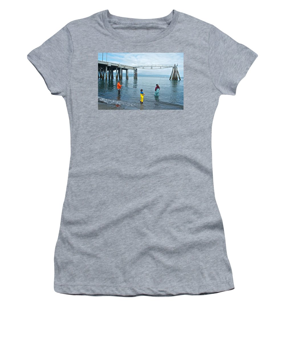 Family Surf Fishing In Kachemak Bay Off Homer Spit Women's T-Shirt (Athletic Fit) featuring the photograph Family Surf Fishing In Kachemak Bay Off Homer Spit-ak by Ruth Hager