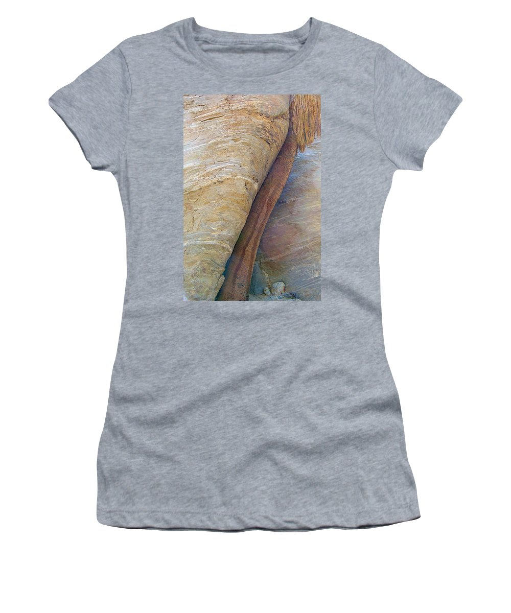 Fan Palm Forced Into A Slant By Rock In Andreas Canyon In Indian Canyons Women's T-Shirt featuring the photograph Fan Palm Forced Into A Slant By Rock In Andreas Canyon-ca by Ruth Hager