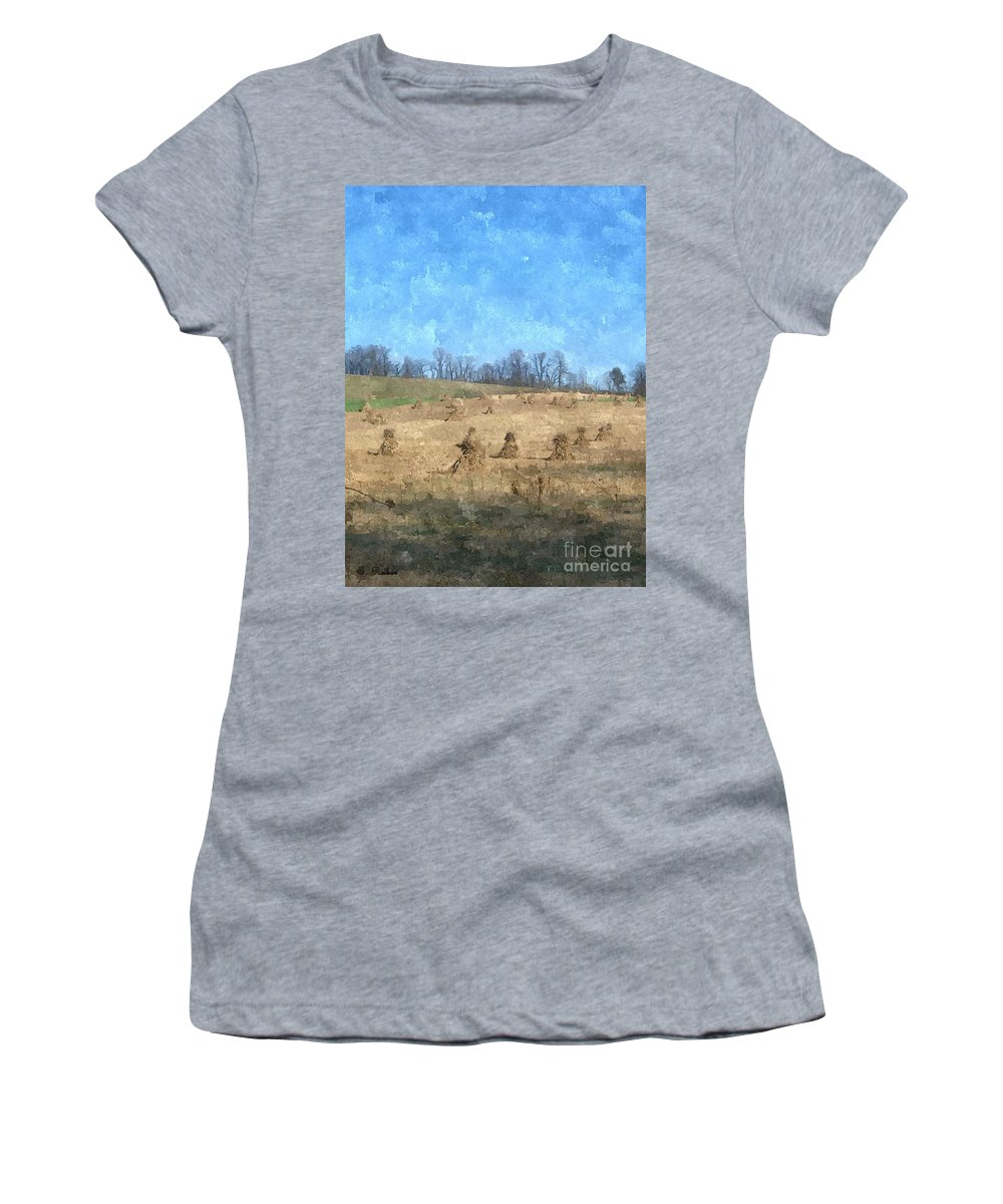 Farm Women's T-Shirt featuring the painting Farm Days 2 by Sara Raber