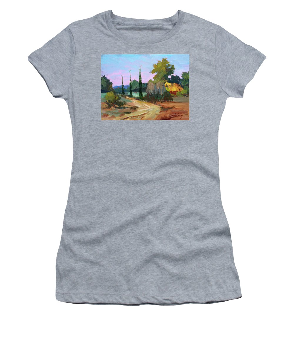 Farm In Provence Women's T-Shirt (Athletic Fit) featuring the painting Farm In Provence by Diane McClary