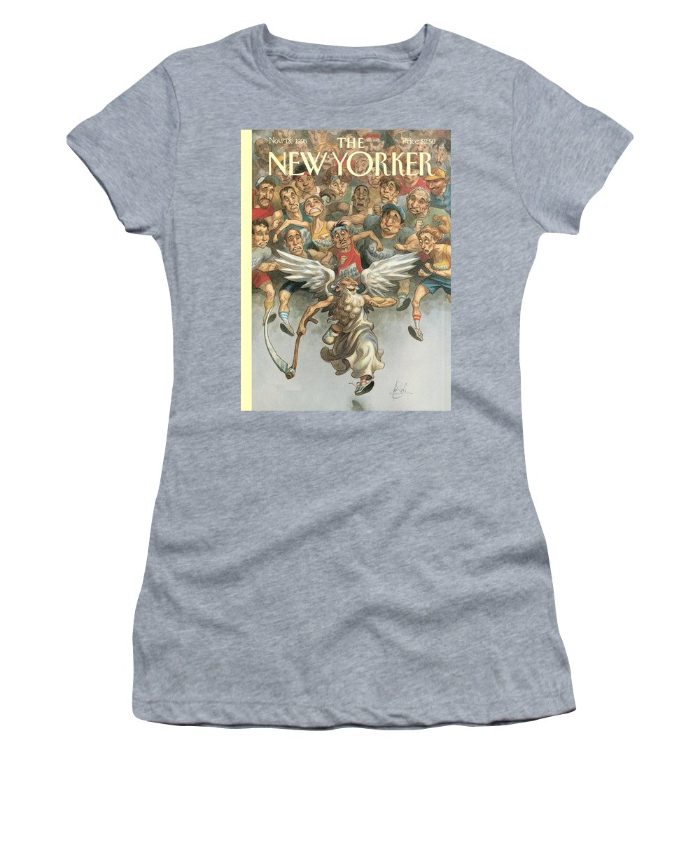 Father Time Women's T-Shirt featuring the painting Father Time Running A Marathon by Peter de Seve