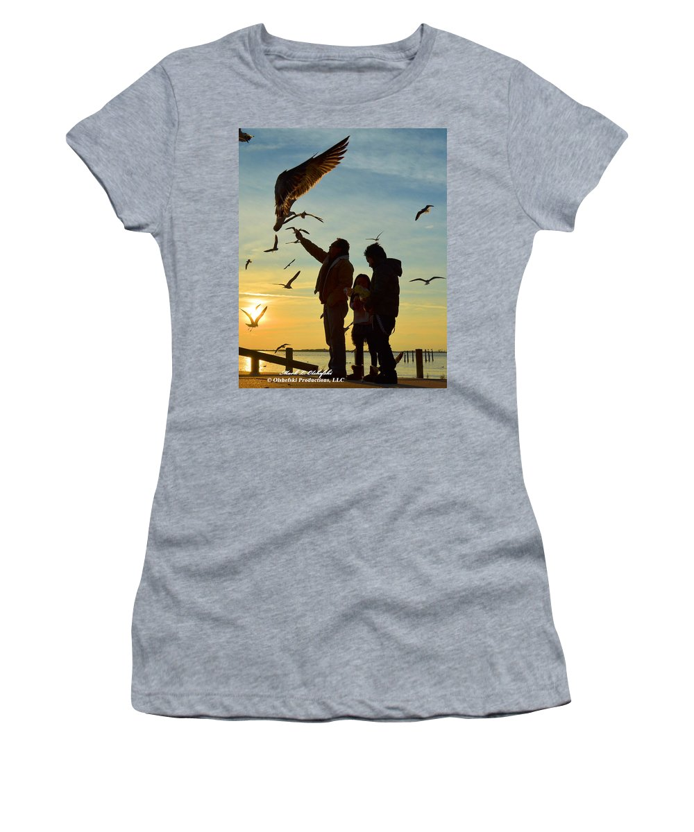 Canvas Women's T-Shirt featuring the photograph Feeding The Seagulls Dec 2012 by Mark Olshefski
