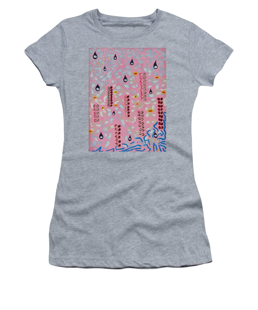 Meditation Women's T-Shirt featuring the painting Field Of Souls IIi by Elle Nicolai