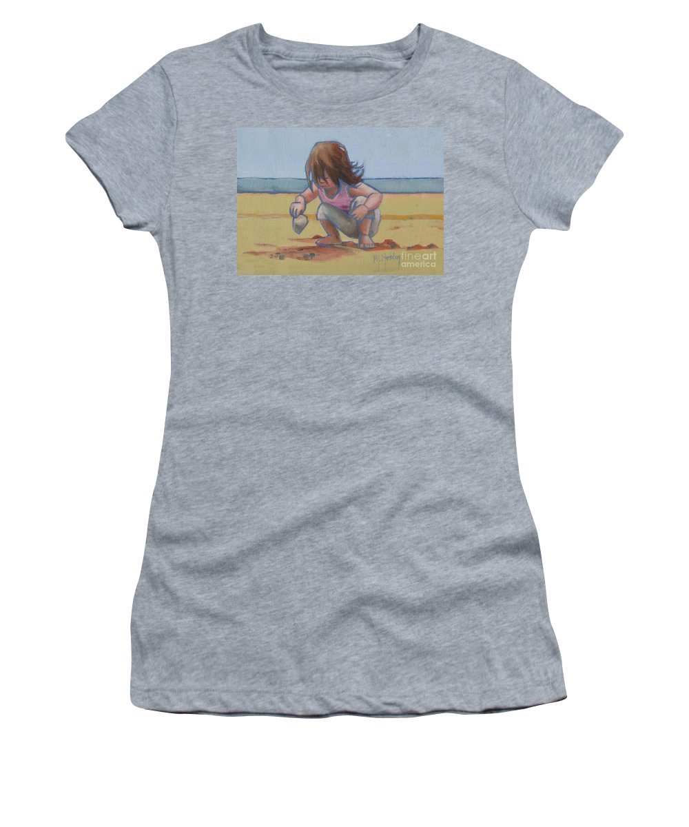 Seashell Women's T-Shirt featuring the painting Finding A Shell by Mary Hubley