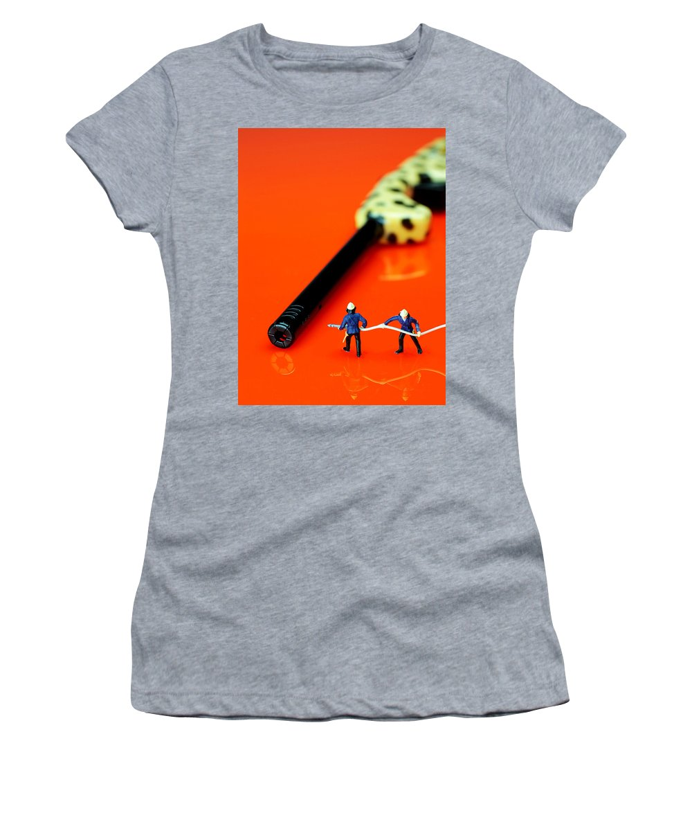 Fire Women's T-Shirt featuring the photograph Fire Fighters And Fire Gun Little People Big Worlds by Paul Ge