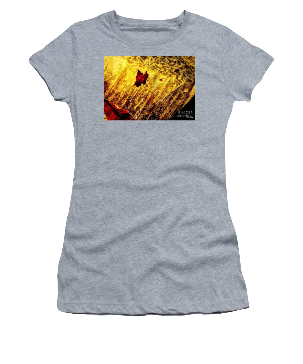 Frozen Leaves Women's T-Shirt (Athletic Fit) featuring the photograph Fire Of The Frost by Tami Quigley