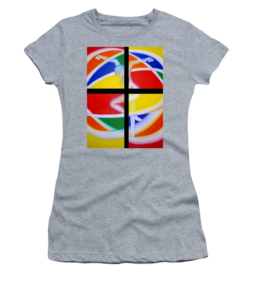 Firedancer Women's T-Shirt (Athletic Fit) featuring the painting Firedancer by Joshua Morton