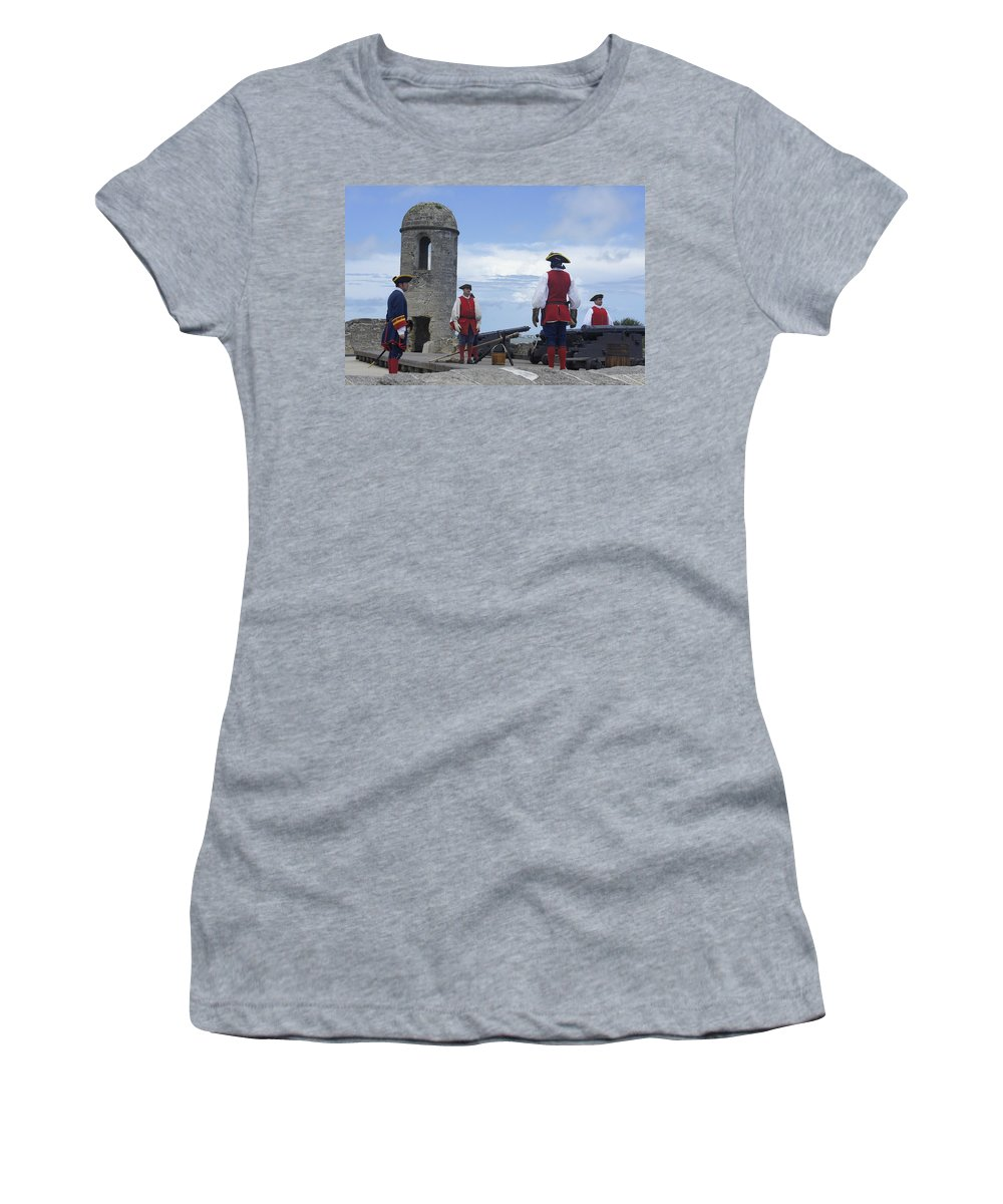 Fort Women's T-Shirt featuring the photograph Firing Of The Cannon 4 by Laurie Perry