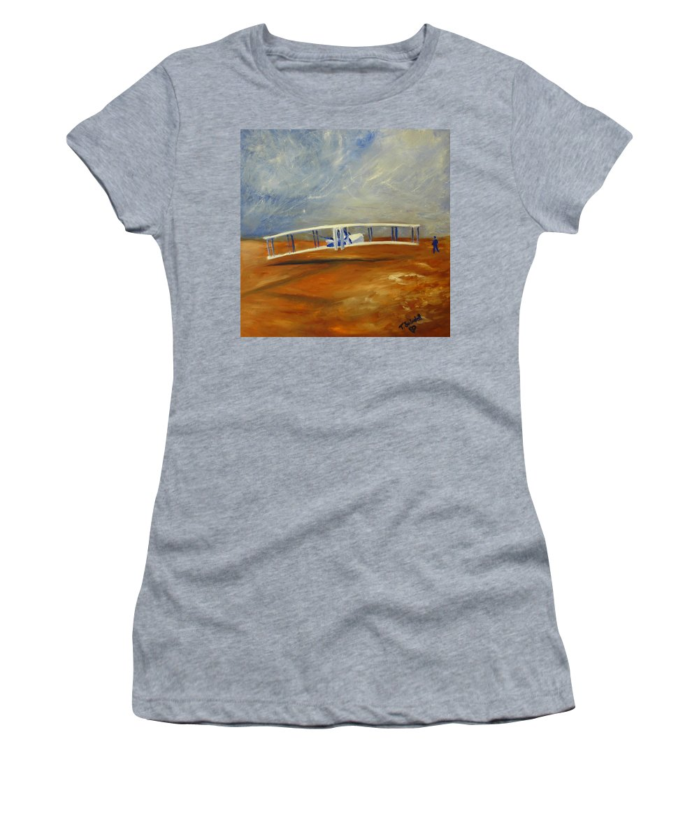 Wright Brothers Women's T-Shirt (Athletic Fit) featuring the painting First Flight Aka Kittyhawk Dream by Tina Swindell
