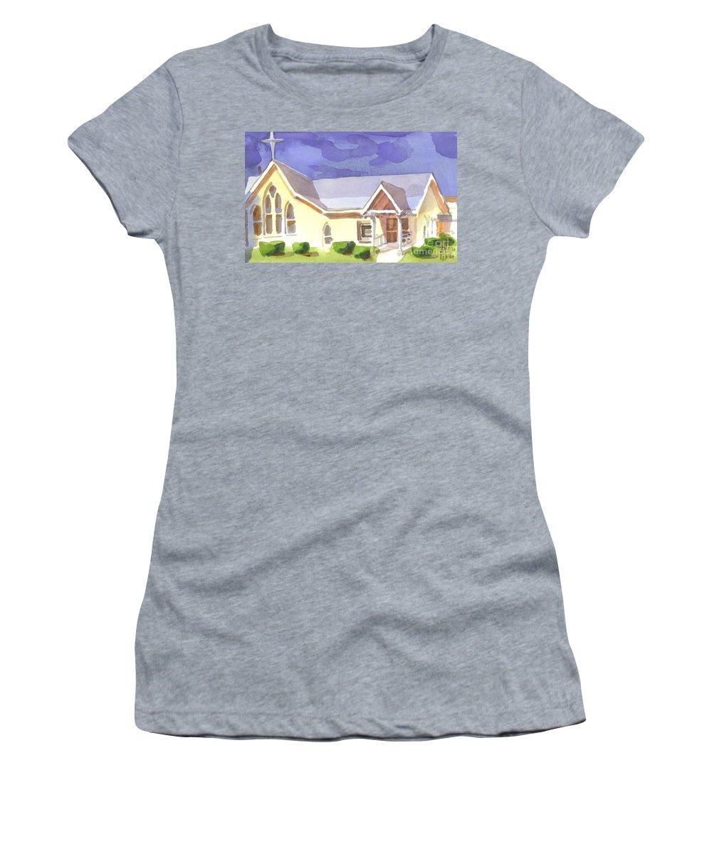 First Presbyterian Church Ii Ironton Missouri Women's T-Shirt (Athletic Fit) featuring the painting First Presbyterian Church II Ironton Missouri by Kip DeVore