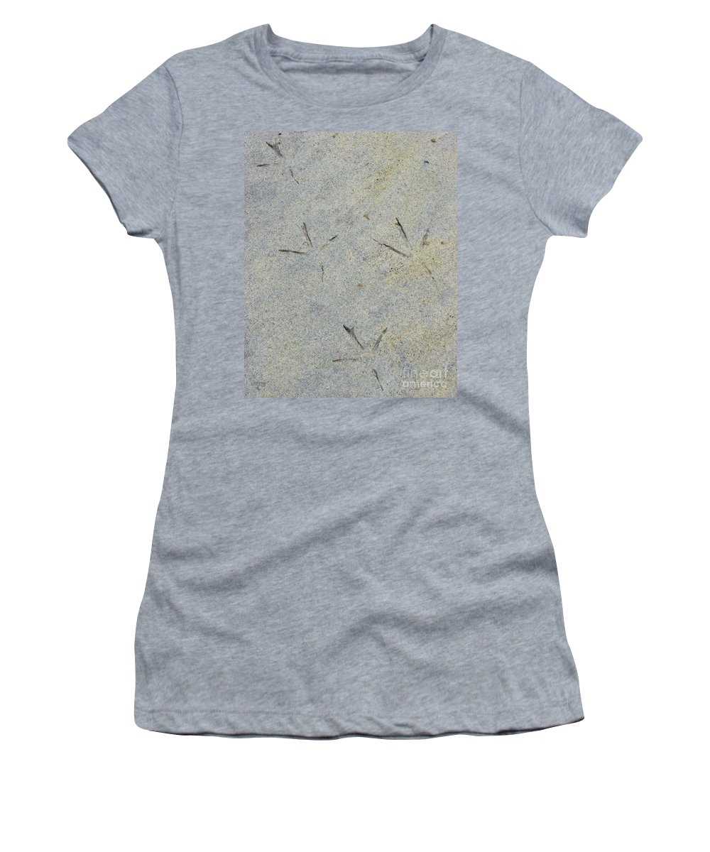Bird Women's T-Shirt featuring the photograph Fishermans Foot Prints by Nancy L Marshall