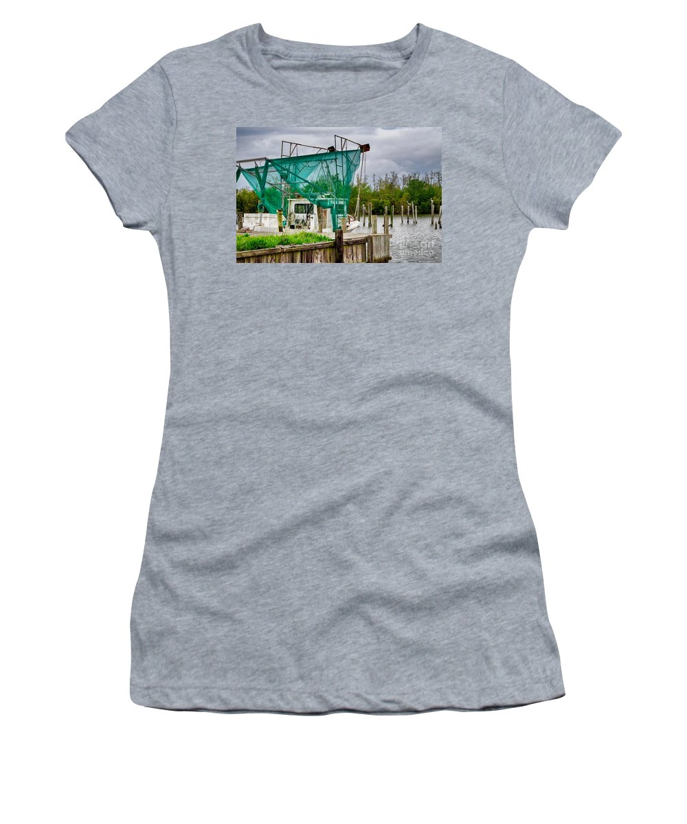 Boat Women's T-Shirt featuring the photograph Fishing Boat And Pelicans On Posts by Kathleen K Parker