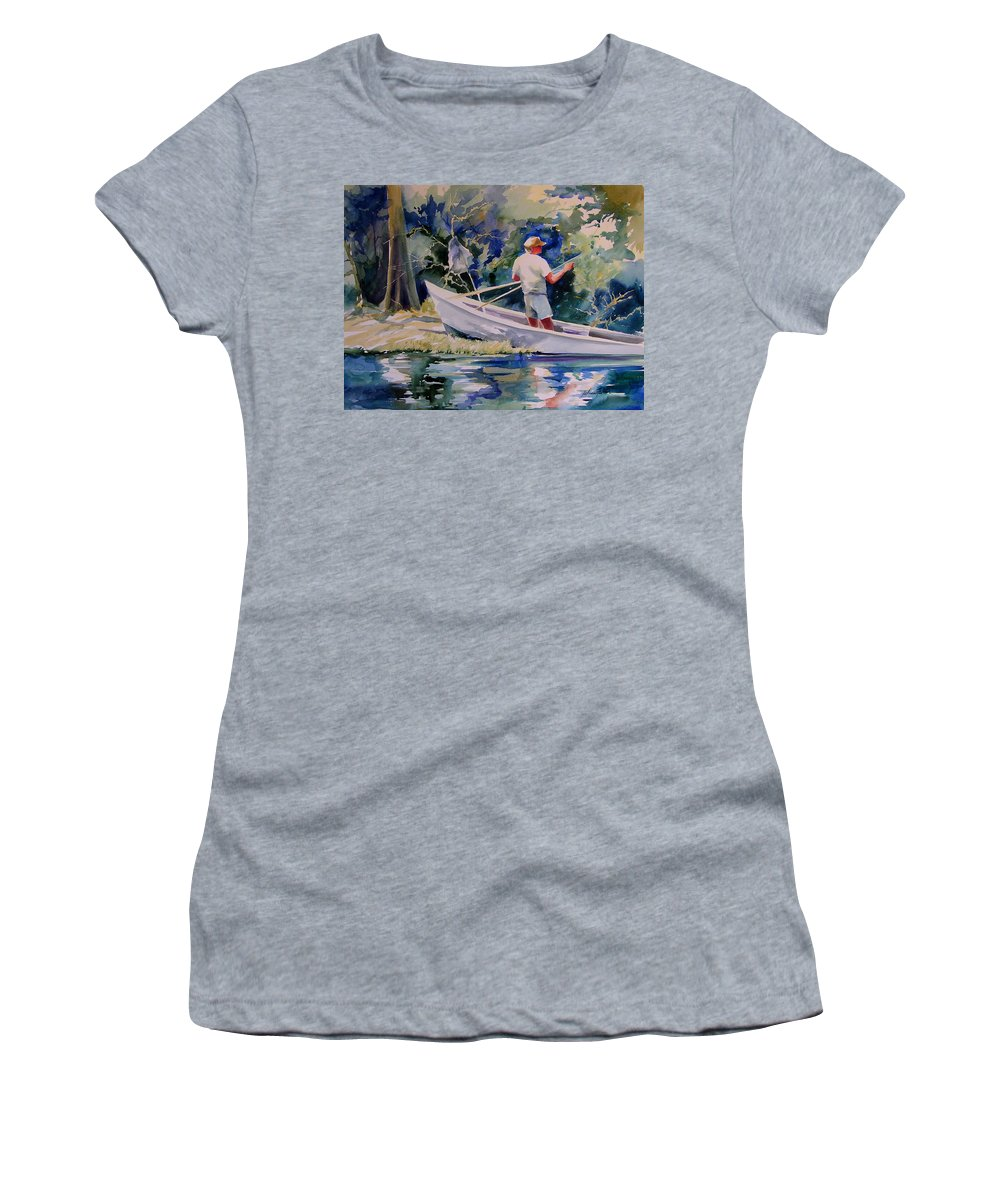 Art Women's T-Shirt (Athletic Fit) featuring the painting Fishing Spruce Creek by Julianne Felton
