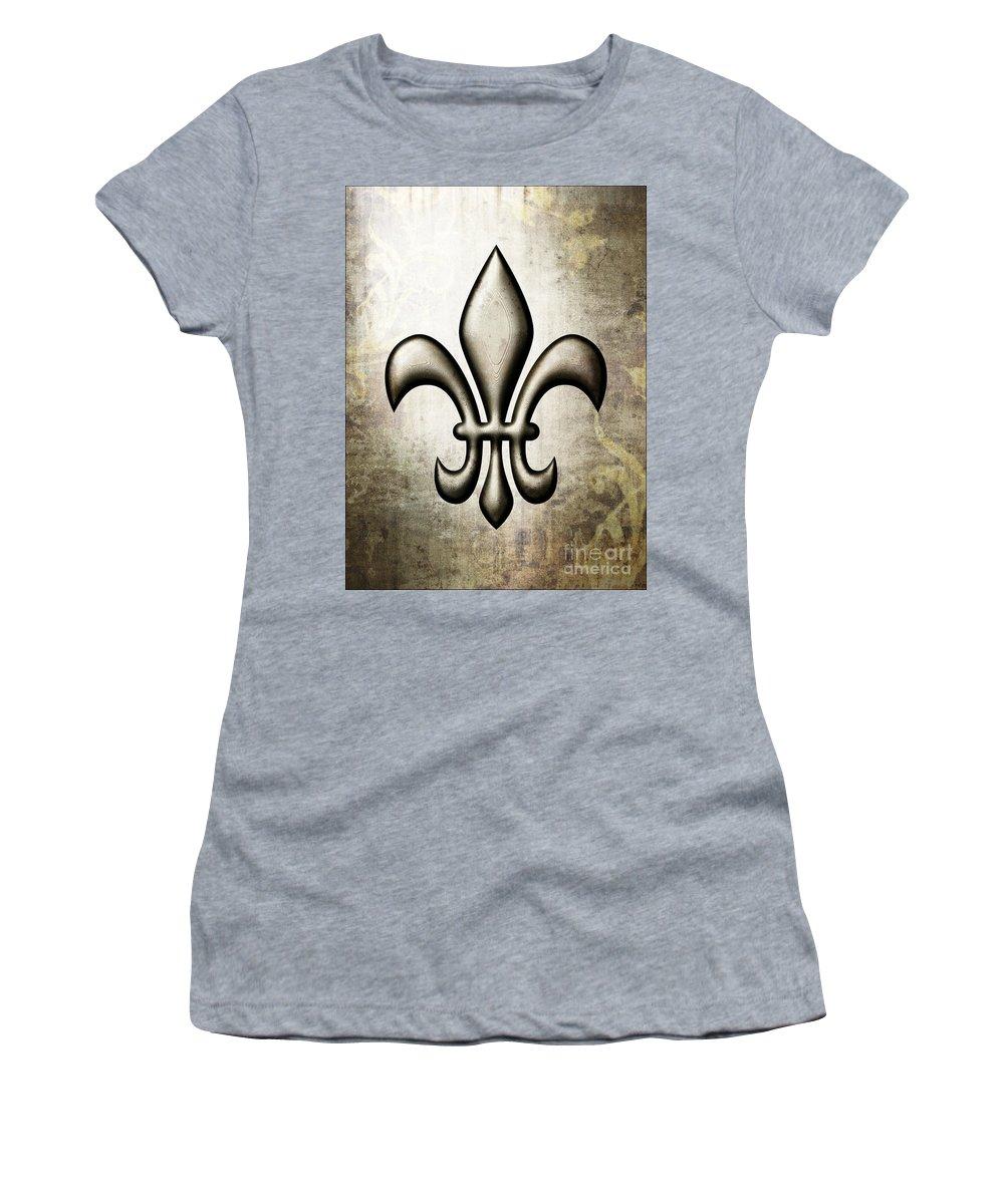 Fleur-de-lis V1 Women's T-Shirt featuring the painting Fleur-de-lis V1 by Roz Abellera