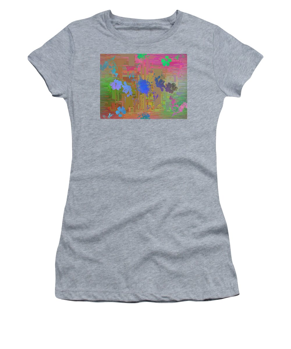 Abstract Women's T-Shirt featuring the digital art Flowers Cubed 1 by Tim Allen