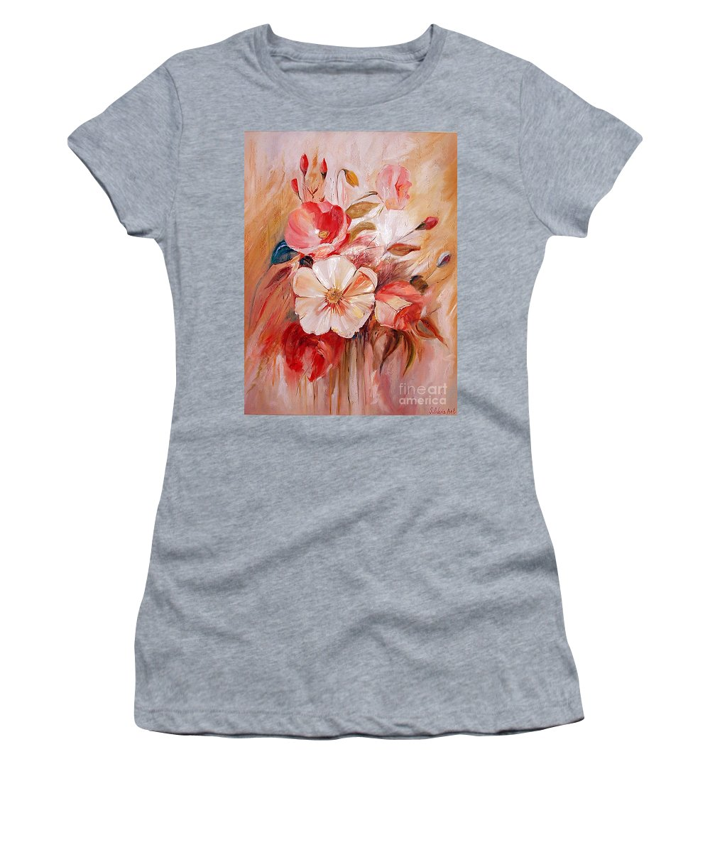 Abstract Women's T-Shirt (Athletic Fit) featuring the painting Flowers I by Silvana Abel