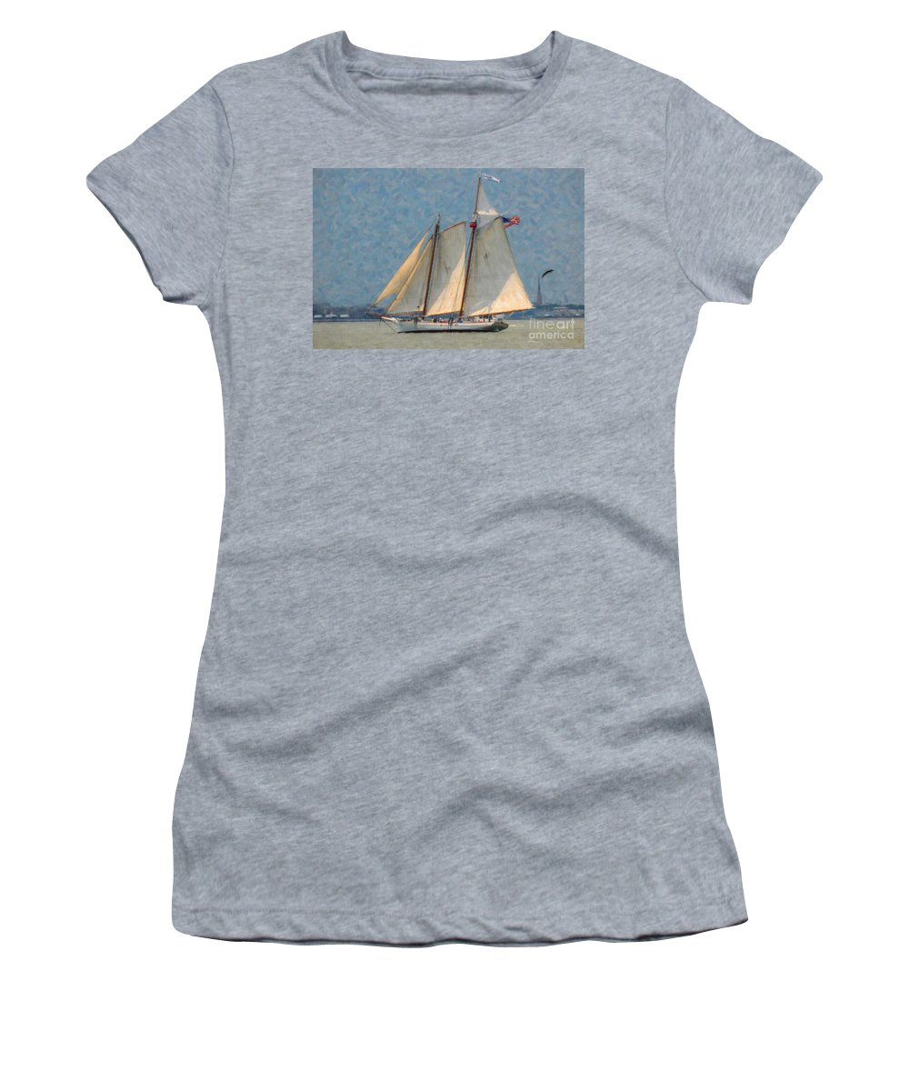 Spirit Of Sc Women's T-Shirt (Athletic Fit) featuring the digital art Flying Cloud by Dale Powell